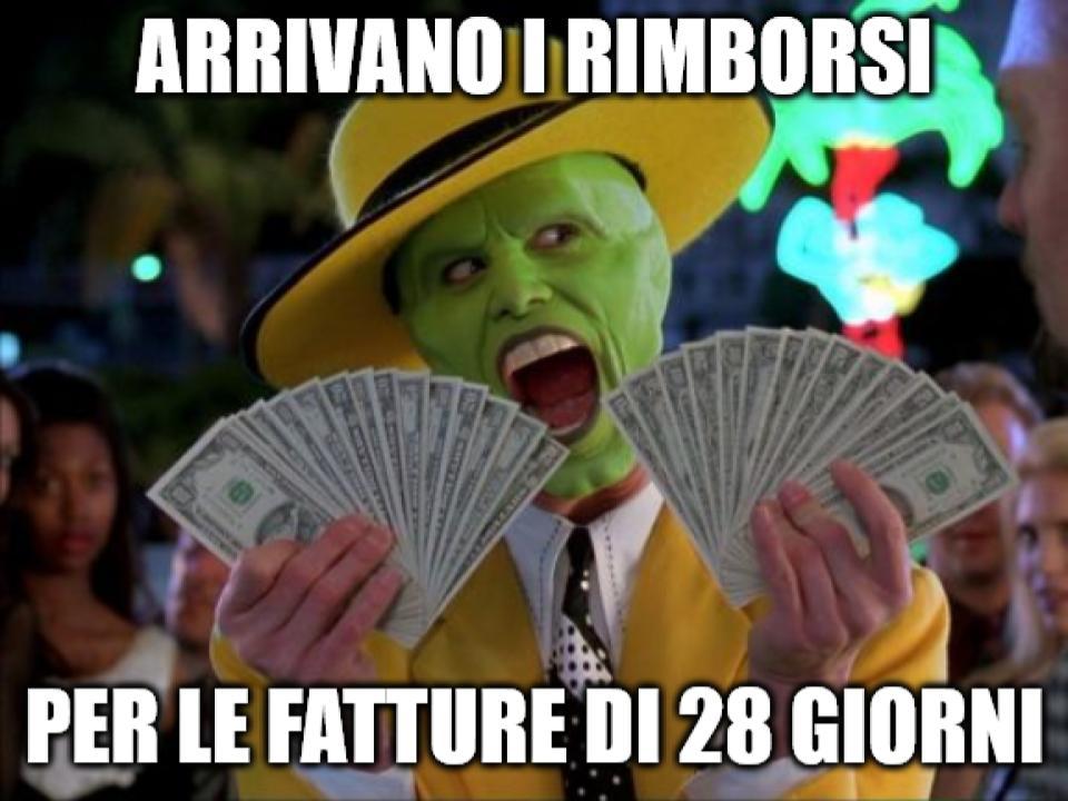 meme con the mask che festeggia per i soldi ricevuti dai rimborsi per le fatture di 28 giorni